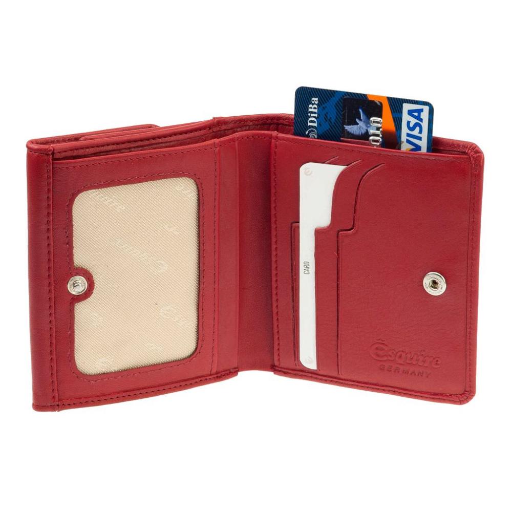 Esquire Großer Damen Geldbeutel Helena 1247-50 Rot Rfid Damengeldbörse Leder