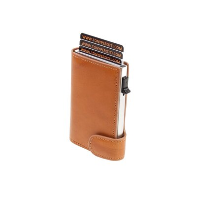 7cdcdcd615cbb Slim Aluminium Geldbörse TONY PEROTTI Cognac RFID Leder - Geldboerse ...