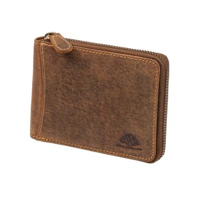 bfd0efa8d1838 Greenburry Vintage Leder Geldbörse mit umlaufendem Reißverschluss Geldbeutel  ...