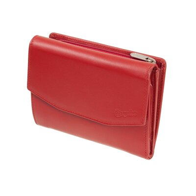 Esquire New Silk kleine Bügelbörse Rot Damengeldbörse Knipsbörse Leder minibörse