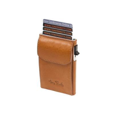 923fe0274c0eb Slim Secure Kreditkartenetui mit Münzfach Tony Perotti Vegetale RFID Cognac  ...